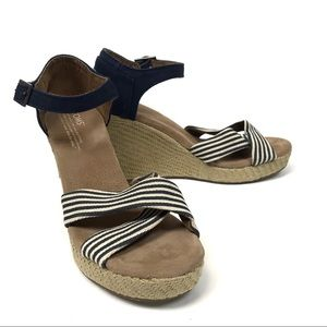 Toms navy striped espadrille wedge sandals 8.5